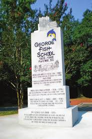 Head shot photos of Dr. Molly Coggins, Joe Bonds and the George Fish School monument.