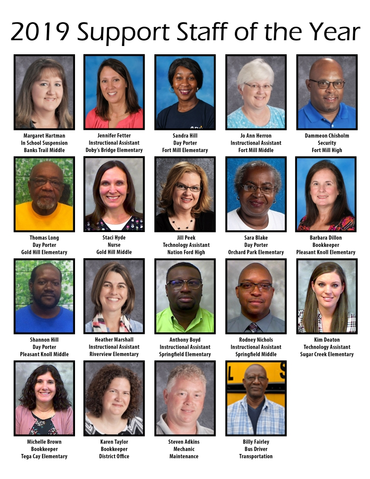 Individual head shot photos of the fort Mill School District Teachers of the Year.