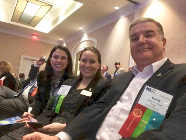 Tega Cay City Council members (from left) Heather Overman, Alicia Dasch and Mayor David O'Neal pose for a photo at a Municipal Association event.