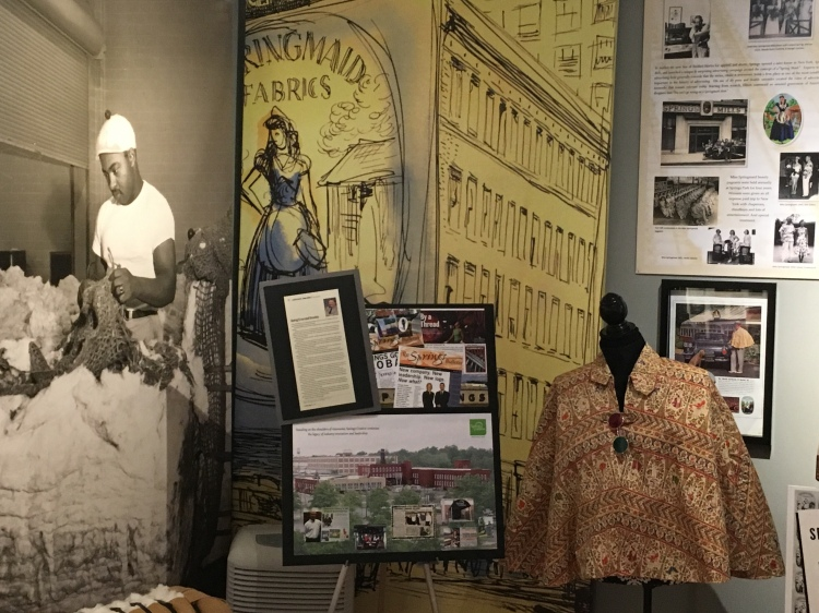 "Scenes from the ""130 years of Springs"" exhibit at the Fort Mill History Museum."