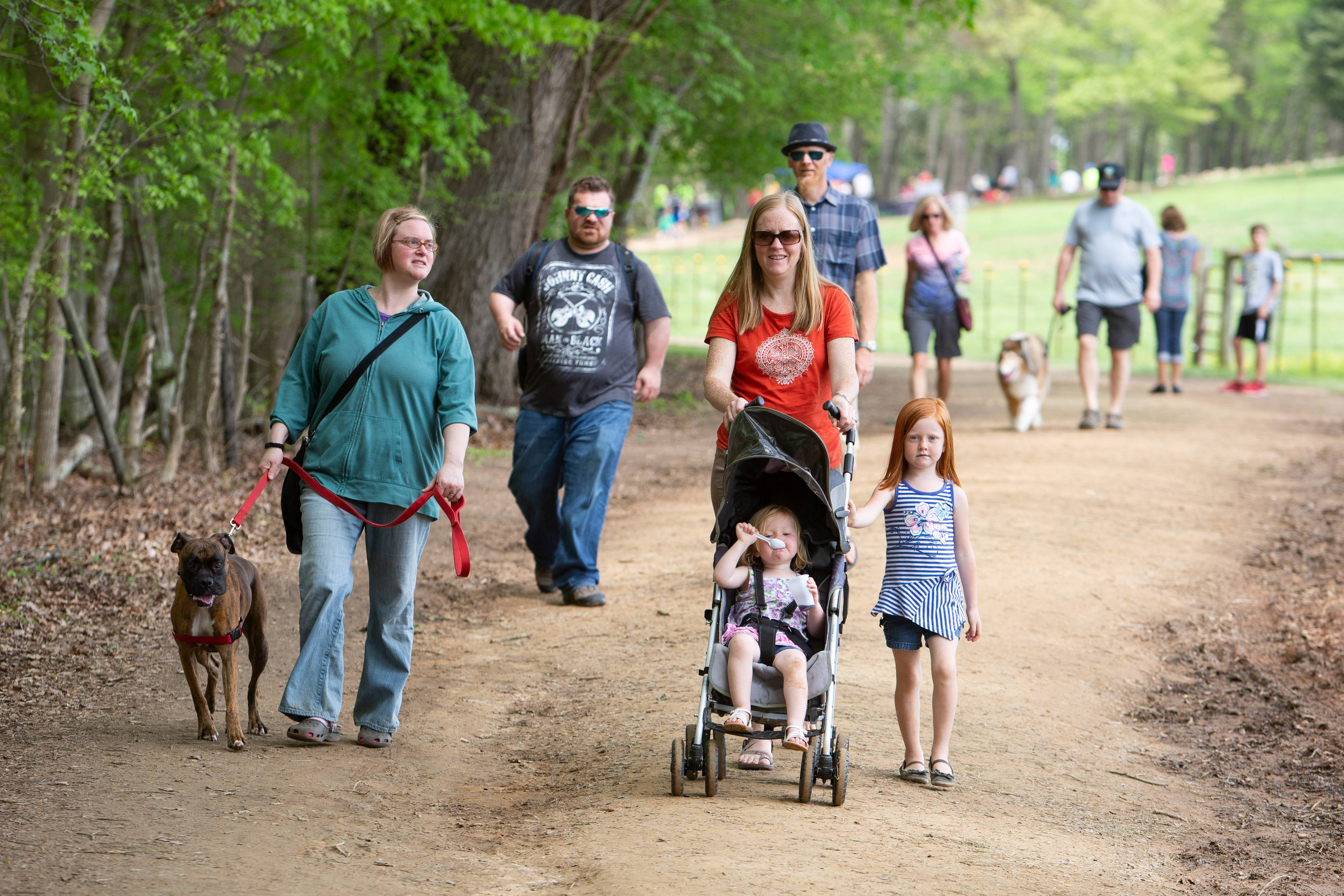 Adults and children, some in strollers, along with dogs on leashes, walk on along one of the trails at the Anne Springs Close Greenway in Fort Mill.